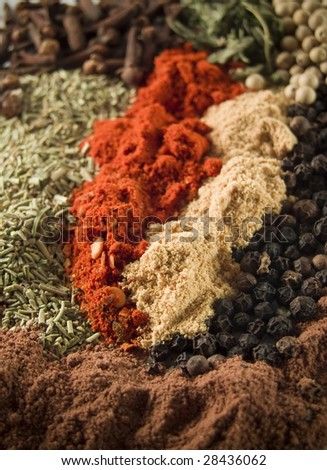 background of various colorful spices