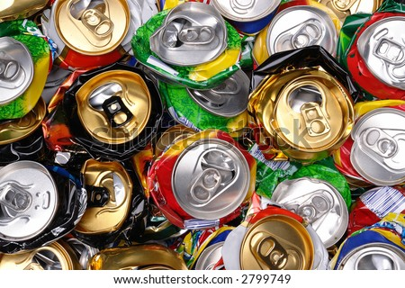 Background of various crashed beer cans - stock photo