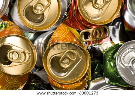 Background of various crashed beer cans.