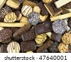 background of various delicious belgian pastry cookies - stock photo