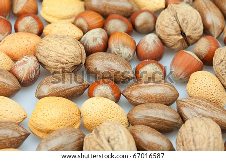 background of various kinds of nuts