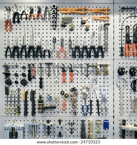 Background of various mechanic tools and pliers - stock photo