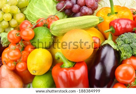 Background of vegetables and fruit set - stock photo