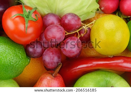 background  of vegetables and fruits - stock photo