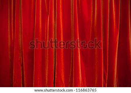 background of velvet red theater curtain closed - stock photo