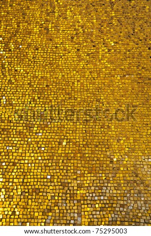 background of wall with golden mosaic - stock photo