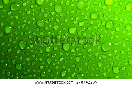 Background of water droplets on the surface in green colors - stock photo