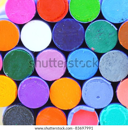 Background of Wax crayons - stock photo