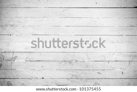 Background of weathered and white painted a wooden plank - stock photo