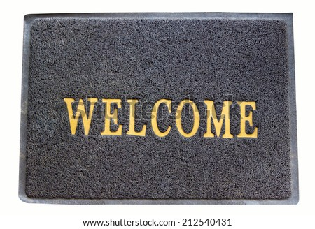 background of welcome carpet on isolated - stock photo