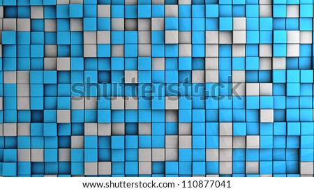background of white and blue cubes