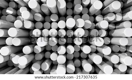 Background of white reflective extruded cylinders or rods at various heights with shadows - stock photo