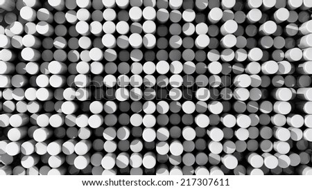 Background of white reflective extruded cylinders or rods with shadows - stock photo