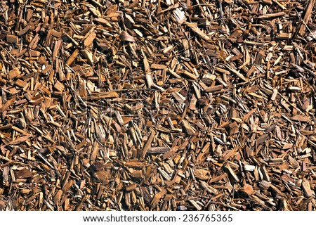 background of wood chipped mulch - stock photo