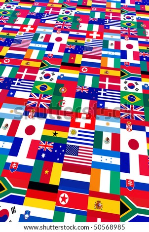 background of world flags, participants to 2010 soccer cup - stock photo