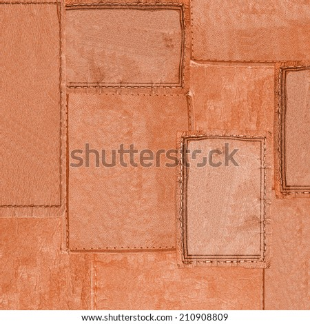 background of yellow  leather labels - stock photo