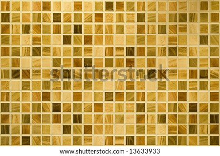 Background of yellow mosaic from kitchen. - stock photo