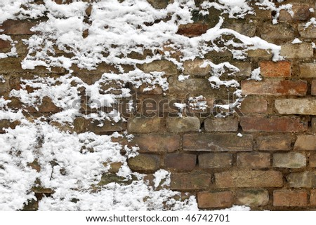 Background old brick wall with snow - stock photo