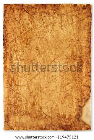 background old, burnt paper - stock photo
