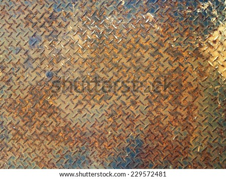 Background old diamond steel plate texture - stock photo