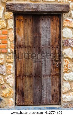 Background old door in retro style . - stock photo