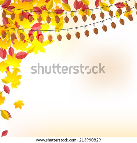 Background on autumn theme, yellow and red leaves falling.  - stock photo