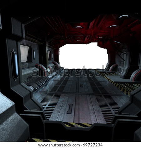 background or composing image inside a futuristic scifi spaceship - stock photo