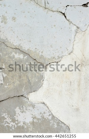 Background or texture: Expansion cracks in a concrete wall and spalling illustrating deterioration.