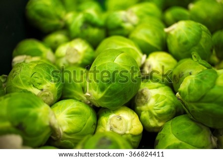 Background or texture of fresh green Brussel Sprouts.