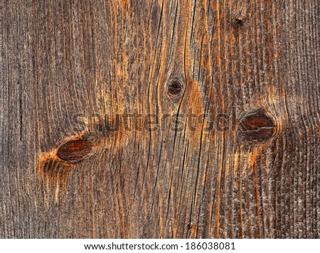 background or texture rustic wooden board with branch - stock photo