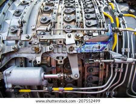background, part of an airplane engine - stock photo