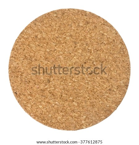 Background Pattern, Brown Round Cork Coaster Isolated on A White Background.