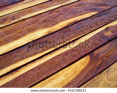 Background pattern nature detail of beautiful teak wood texture as decorative furniture wall panel surface - stock photo