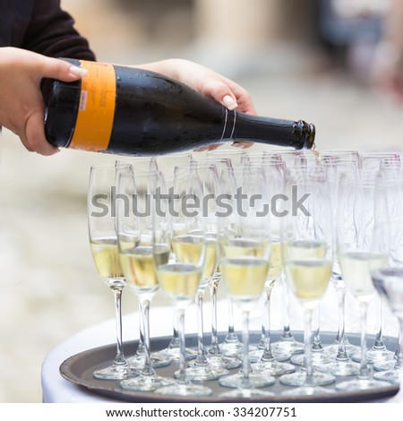 Background pattern of empty christal glasses. Banquet event. - stock photo