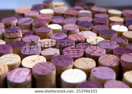 Background pattern of wine bottles corks  - stock photo