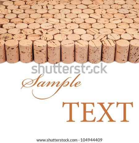 Background pattern of wine bottles corks with room for text