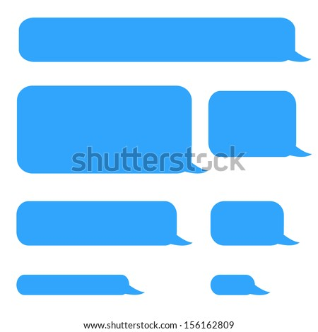 background phone sms chat bubbles in blue colors - stock photo