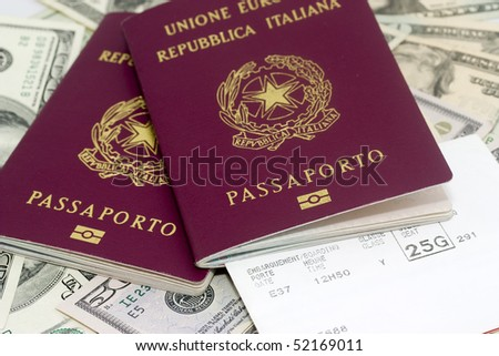 Background photo of  italian passports on dollars banknotes