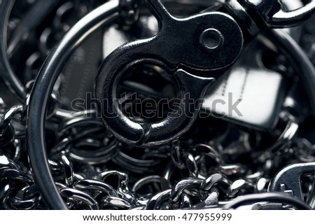 Background picture. Many metal chains.