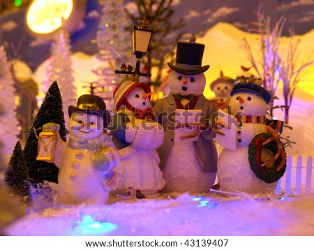 Background Picture of Christmas Snowman Family - stock photo