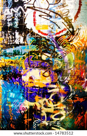 background picture of colorful graffiti wall - stock photo