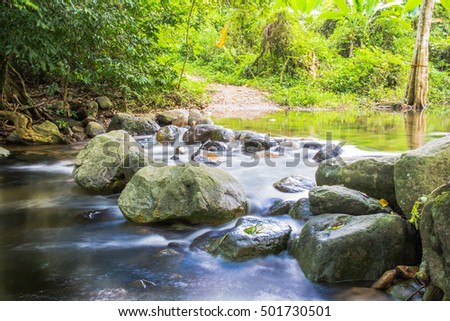 Background Picture of trees and water flows through rocky path of a stream at the entrance to Krok-e-dok waterfall in Saraburi Thailand.