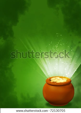 Background - pot, filled with gold coins - stock photo