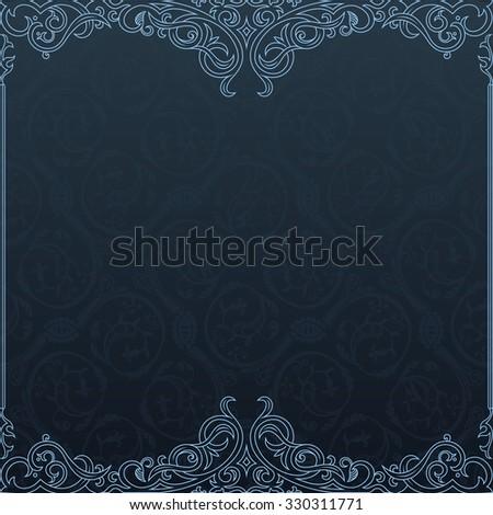 Background Raster invitation vintage label. floral frame dark blue - stock photo