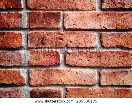 Background red brick wall texture - stock photo
