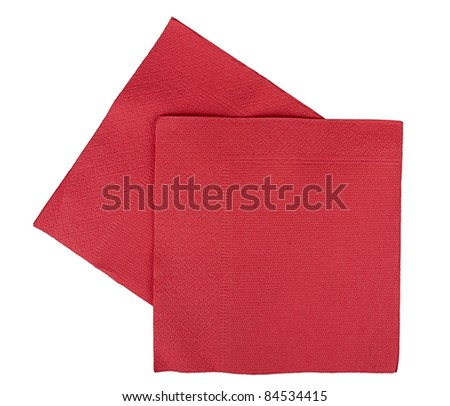 Background - red Christmas or festive paper napkins aka serviettes, isolated