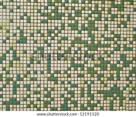 Background Resource: Colorful Seamless Mosaic Wall (Green Beige & White) - stock photo