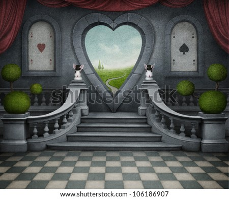 Background room with  door in shape of heart. Computer Graphics.