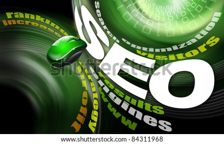 background s.e.o. - search engine optimization web, word cloud and mouse - stock photo