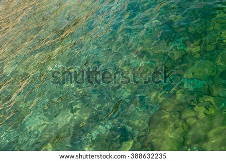 Background. Sea water, sand and stones